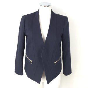 Ann Taylor S 4 Navy Blue Collarless Blazer Zip